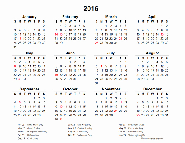 Excel 2016 Calendar with Holidays Best Of 2016 Excel Yearly Calendar 02 Free Printable Templates