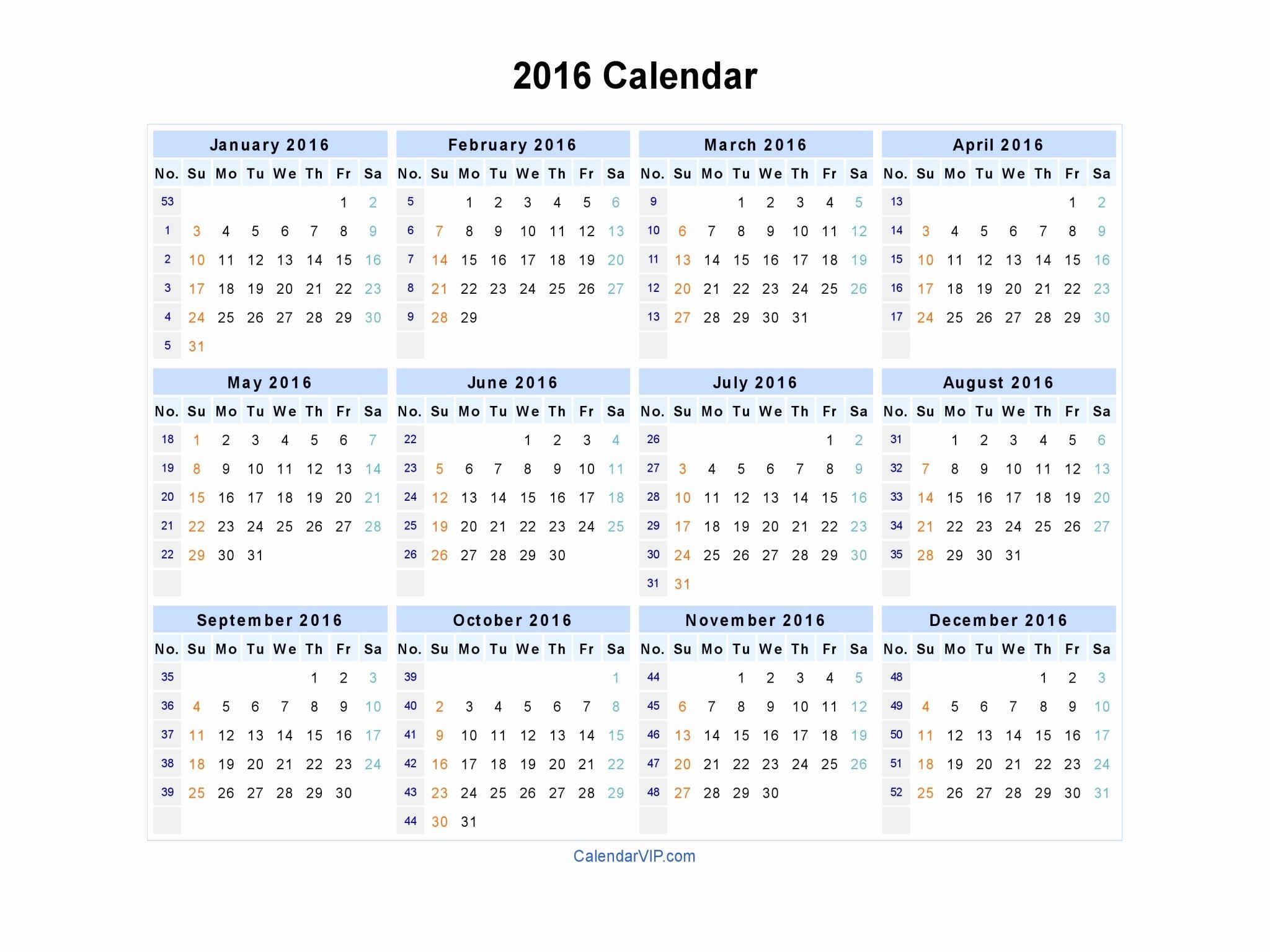 Excel 2016 Calendar with Holidays Elegant 2016 Calendar Blank Printable Calendar Template In Pdf
