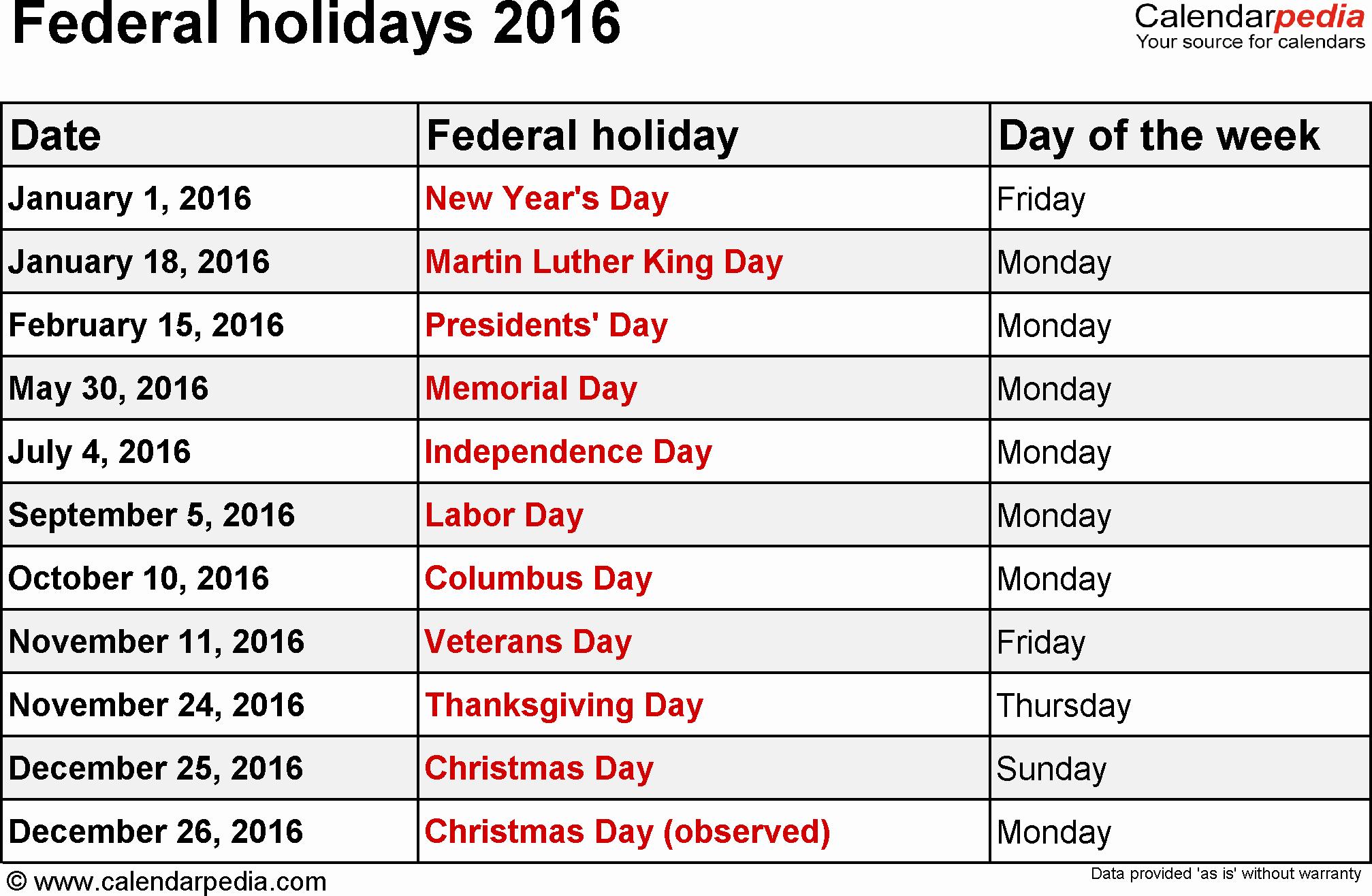 Excel 2016 Calendar with Holidays Elegant Federal Holidays 2016