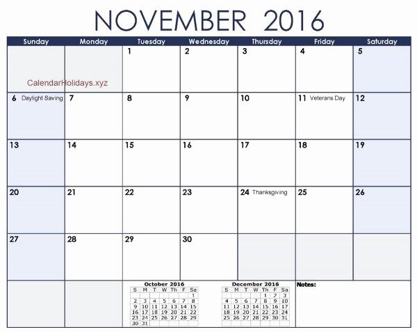 Excel 2016 Calendar with Holidays Elegant November 2016 Excel Calendar November2016 Excelcalendar