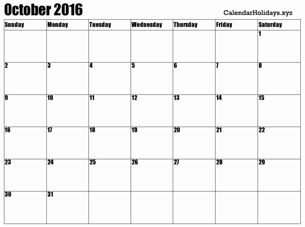 "Excel 2016 Calendar with Holidays Elegant ""october 2016 Calendar Excel Blank Template"