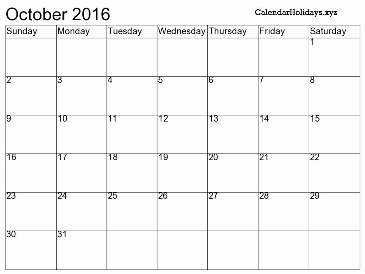 """Excel 2016 Calendar with Holidays Elegant """"october 2016 Excel Calendar"""""""