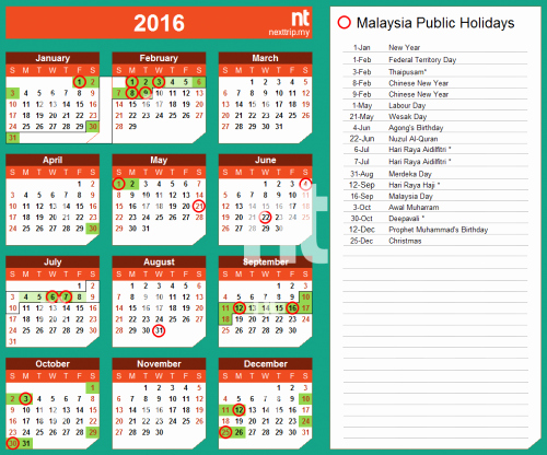 Excel 2016 Calendar with Holidays Fresh 2016 Calendar Malaysia Excel Yearly Calendar Printable