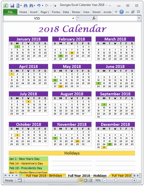 Excel 2016 Calendar with Holidays Fresh 2018 Calendar Year In Excel Spreadsheet Printable