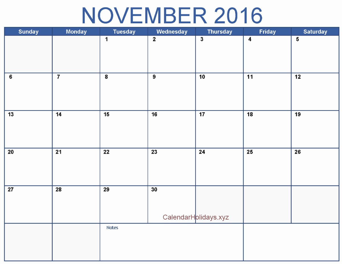 Excel 2016 Calendar with Holidays Fresh November 2016 Excel Calendar November2016 Excelcalendar