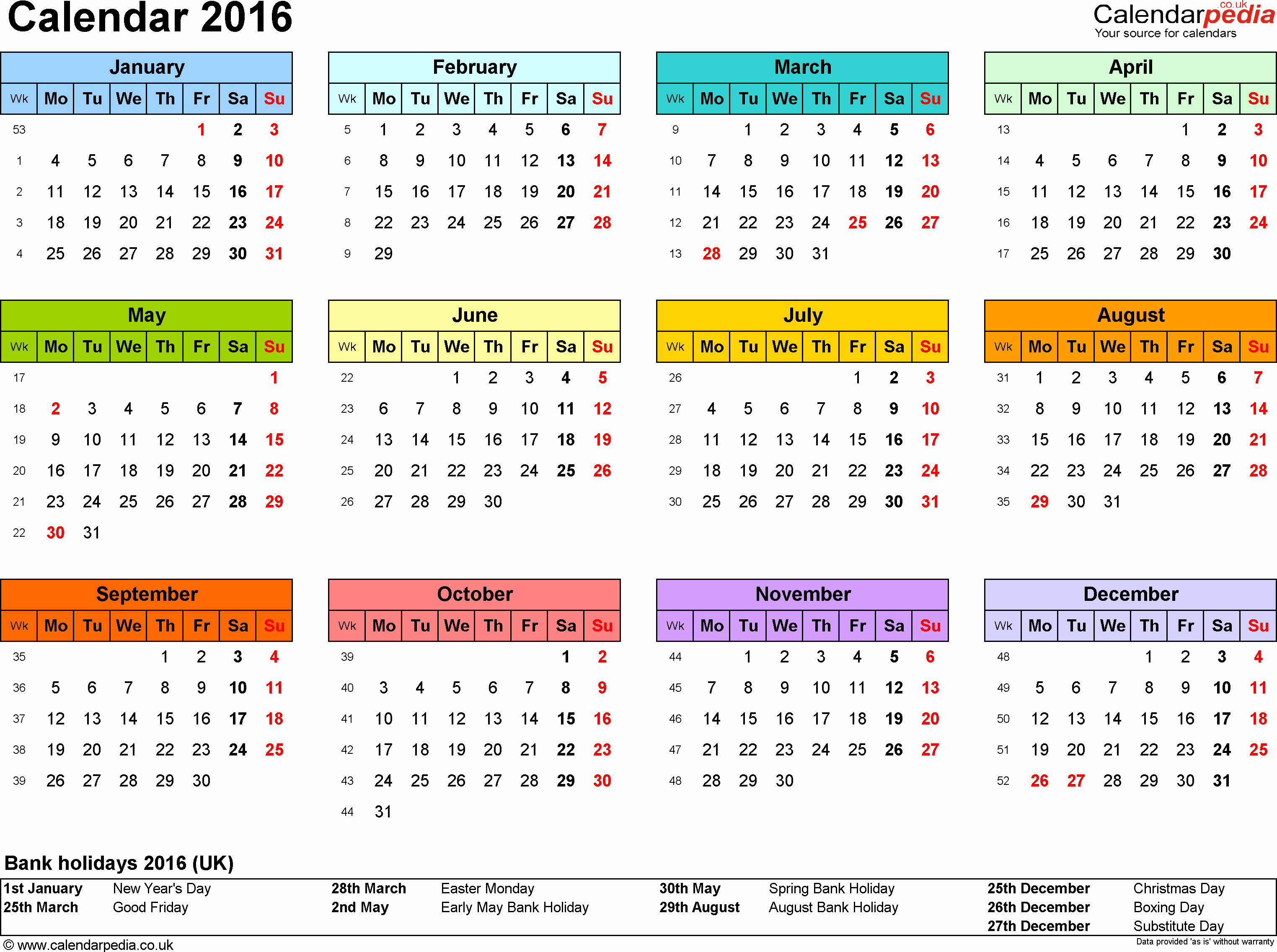 Excel 2016 Calendar with Holidays Inspirational Calendar 2016 Uk with Bank Holidays & Excel Pdf Word Templates