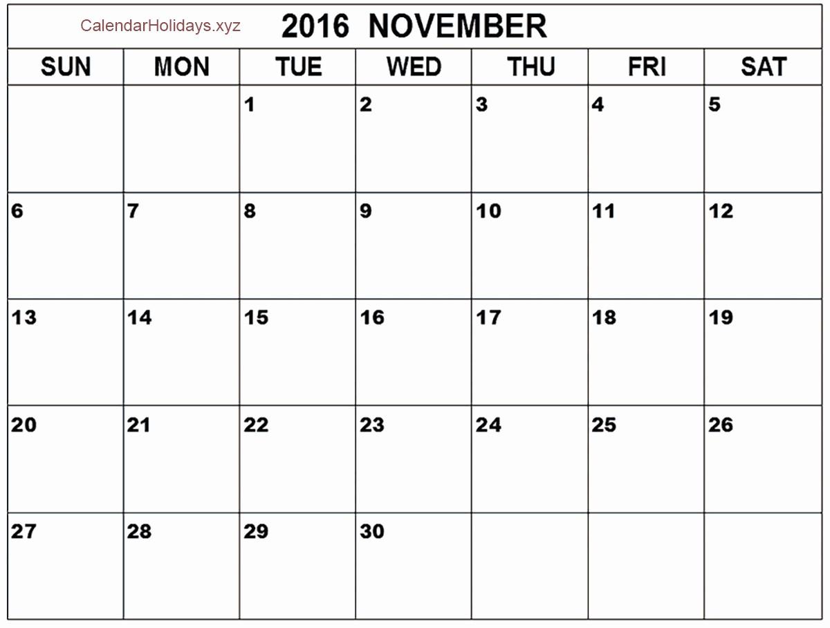 """Excel 2016 Calendar with Holidays Inspirational """"november 2016 Excel Calendar"""""""