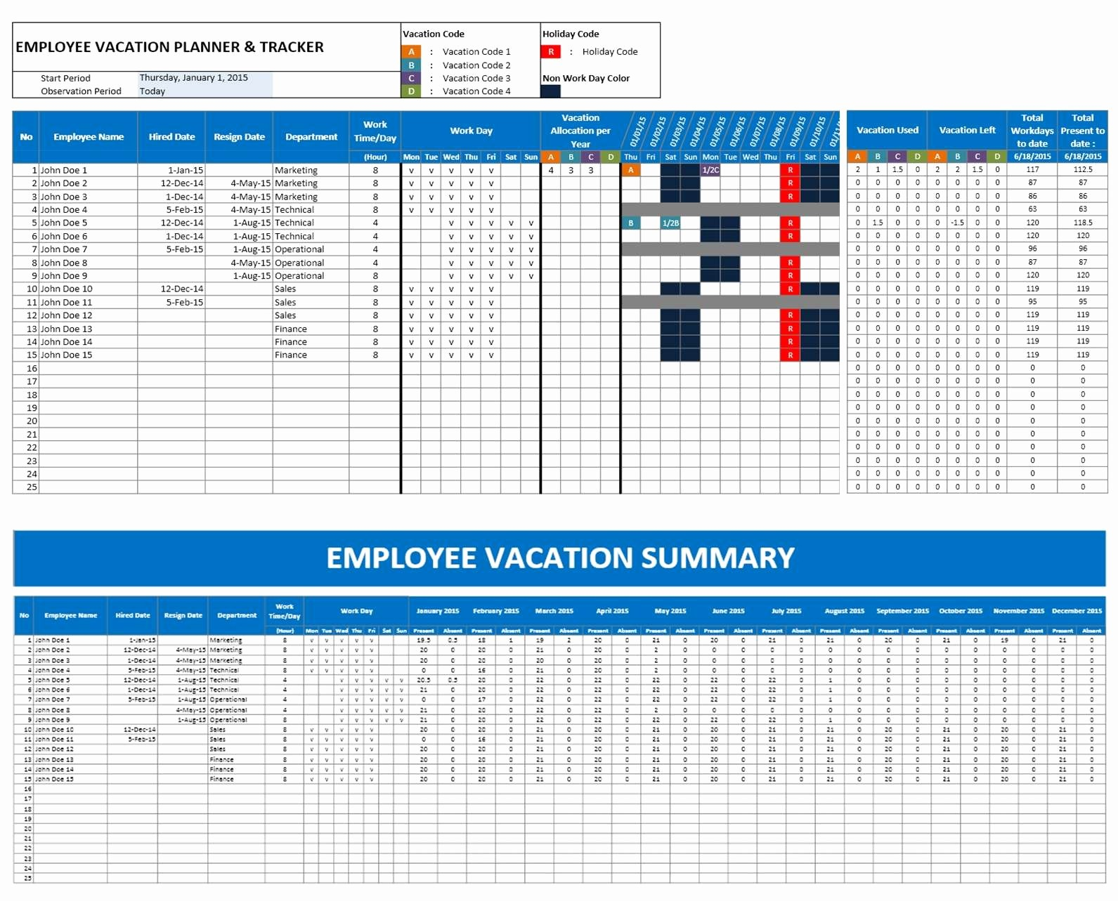 Excel 2016 Calendar with Holidays Lovely 2016 Employee Vacation Calendars Excel