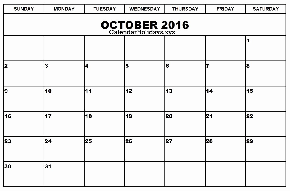 "Excel 2016 Calendar with Holidays Lovely ""october 2016 Calendar Excel Printable Template"