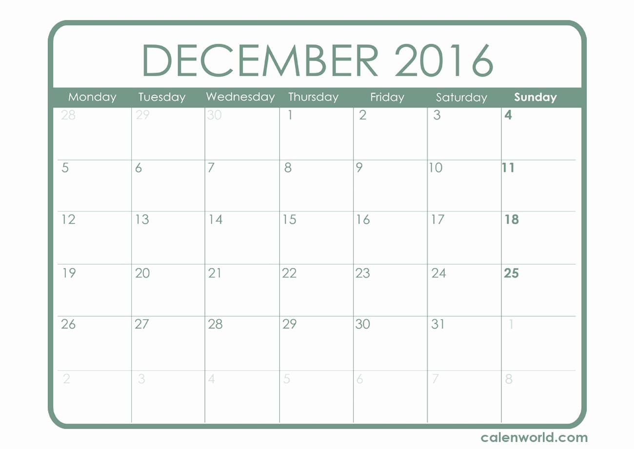 Excel 2016 Calendar with Holidays Luxury December 2016 Calendar Excel – 2017 Printable Calendar