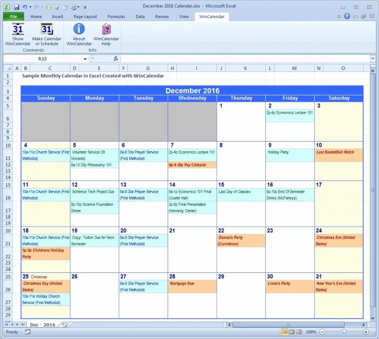 Excel 2016 Calendar with Holidays New Insert Calendar Excel 2016 Free Calendar Template