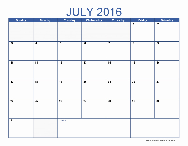 Excel 2016 Calendar with Holidays New July 2016 Calendar Excel July2016 Excelcalendar