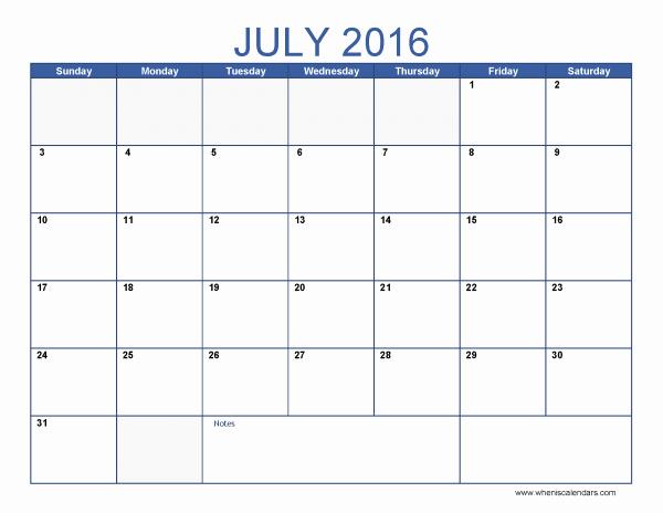 Excel 2016 Calendar with Holidays New July 2016 Calendar Excel July2016 Excelcalendar