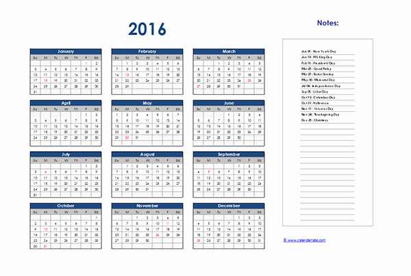 Excel 2016 Calendar with Holidays Unique 2016 Excel Yearly Calendar 01 Free Printable Templates