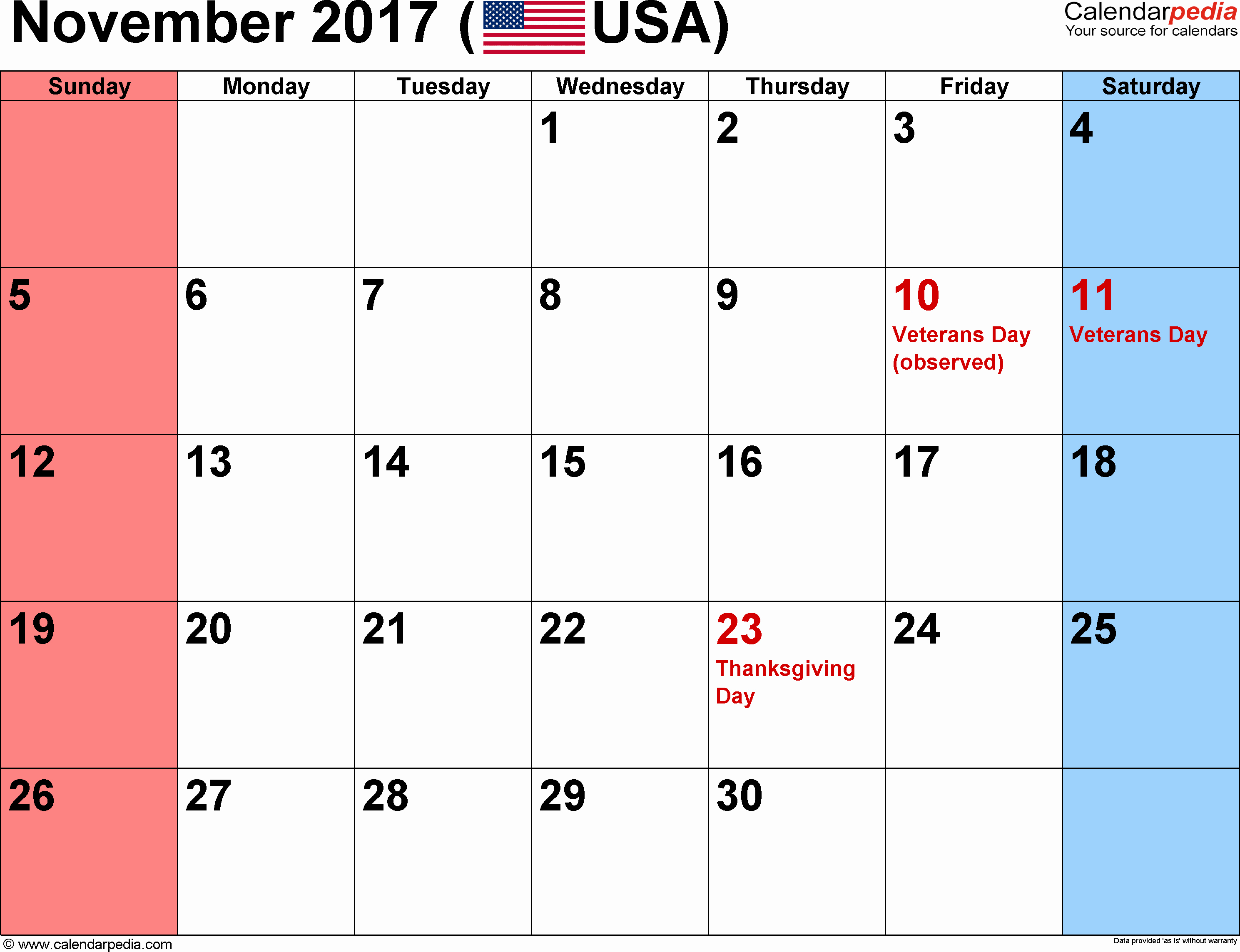 Excel 2017 Calendar with Holidays Beautiful American Holidays 2017 November