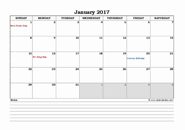 Excel 2017 Calendar with Holidays Best Of 2017 Excel Monthly Calendar with Notes Free Printable