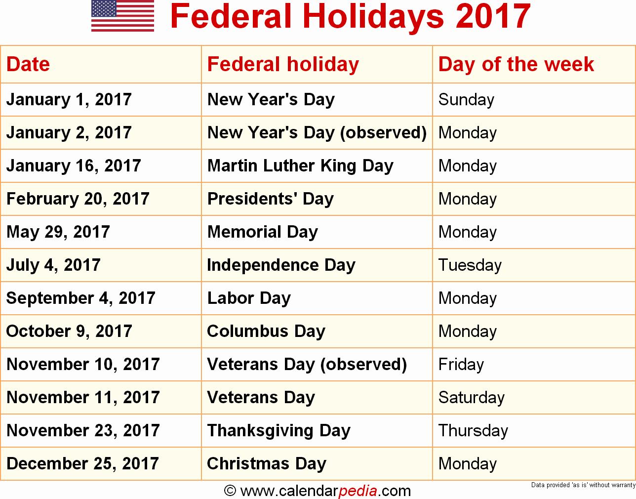 Excel 2017 Calendar with Holidays Lovely 2017 Calendar