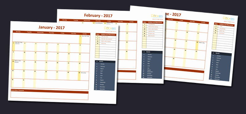 Excel 2017 Calendar with Holidays Lovely 2017 Calendar Template with Holidays for Excel Dotxes