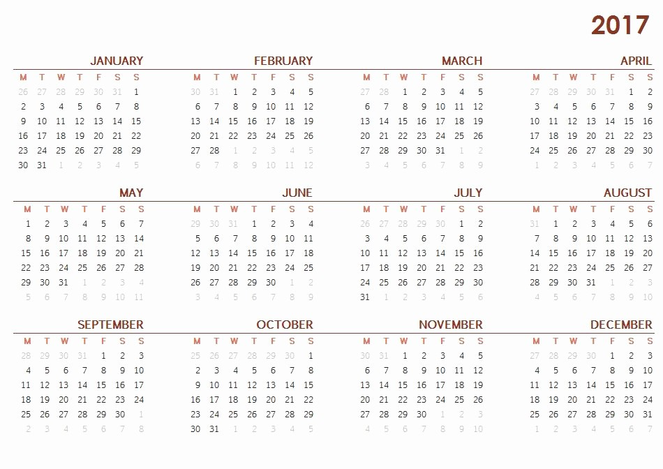 Excel 2017 Calendar with Holidays Lovely 2017 Printable Calendar Template Holidays Excel & Word