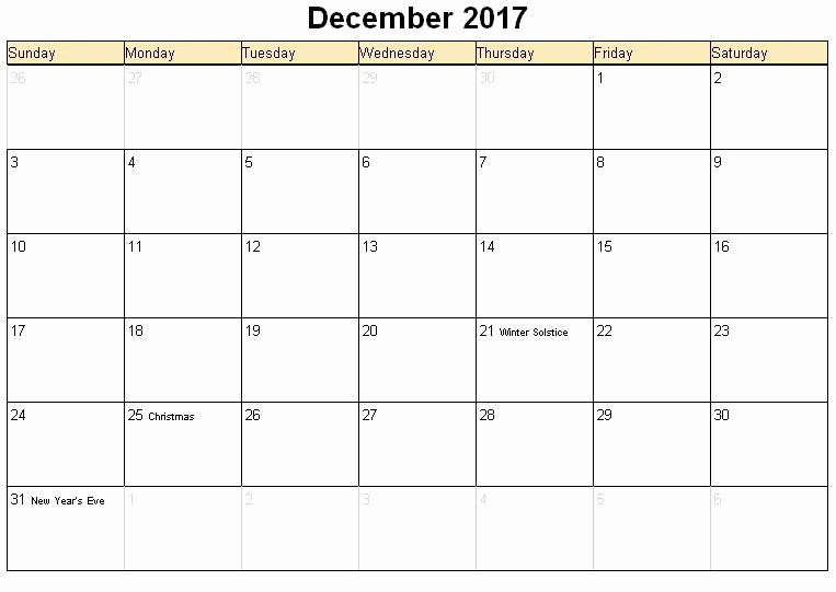 Excel 2017 Calendar with Holidays Lovely December 2017 Printable Calendar Template Holidays Excel