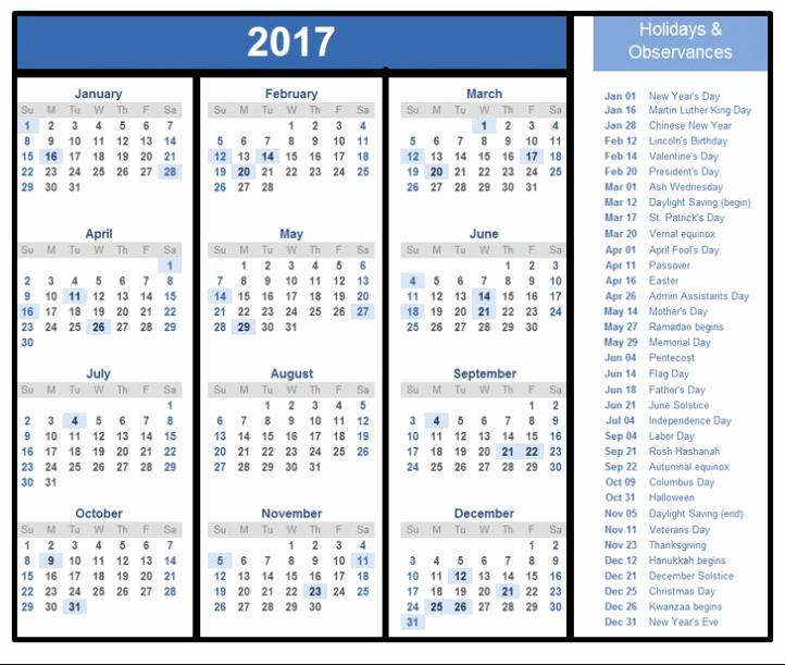 Excel 2017 Calendar with Holidays Lovely Excel 2018 Calendar Template