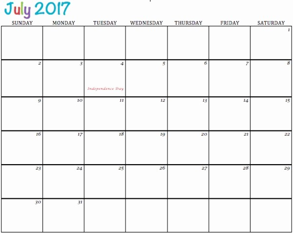 Excel 2017 Calendar with Holidays Luxury July 2017 Printable Calendar Template Holidays Excel