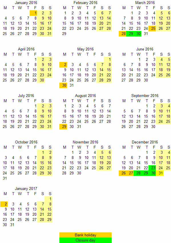 Excel 2017 Calendar with Holidays Unique December 2017 Bank Holiday