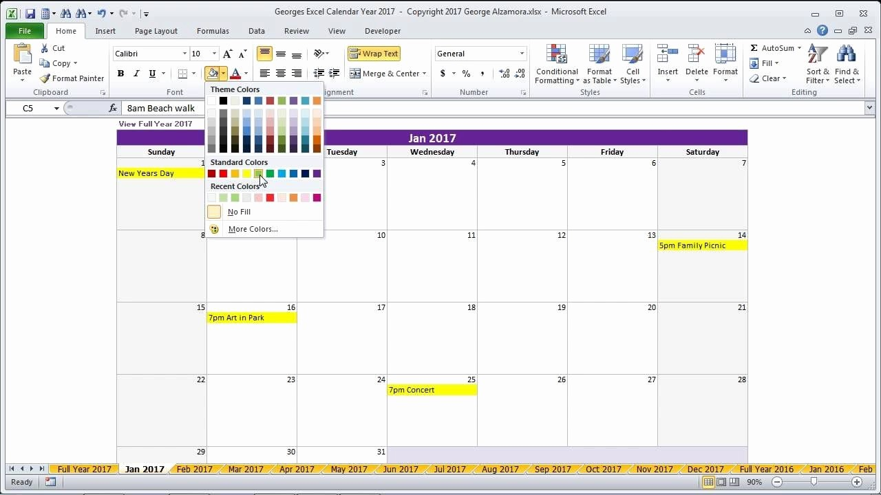 Excel 2017 Calendar with Holidays Unique Year 2017 Calendar In Excel Full Year 2017 Calendar 2017