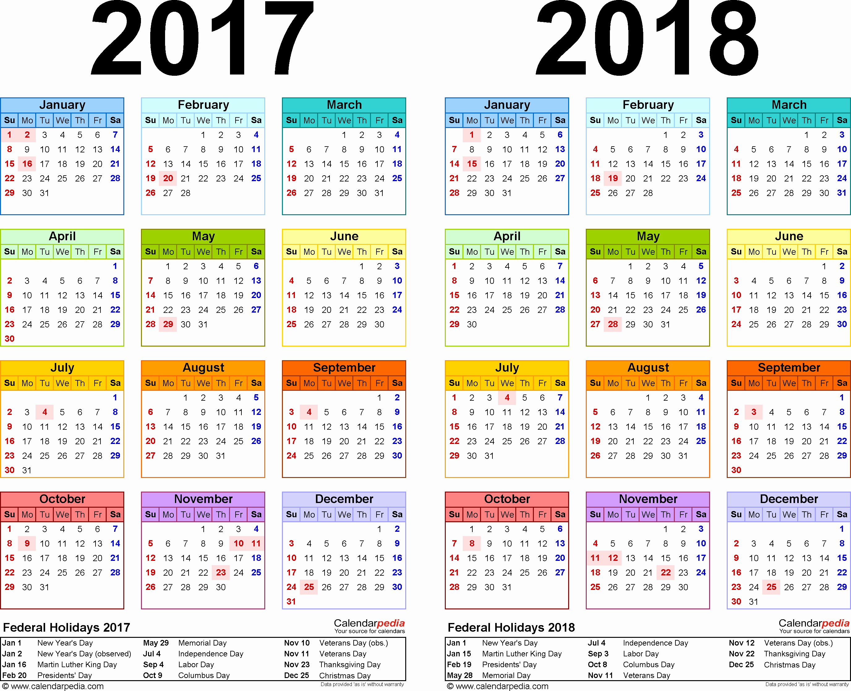 Excel Calendar 2017 with Holidays Awesome 2017 2018 Calendar Free Printable Two Year Excel Calendars