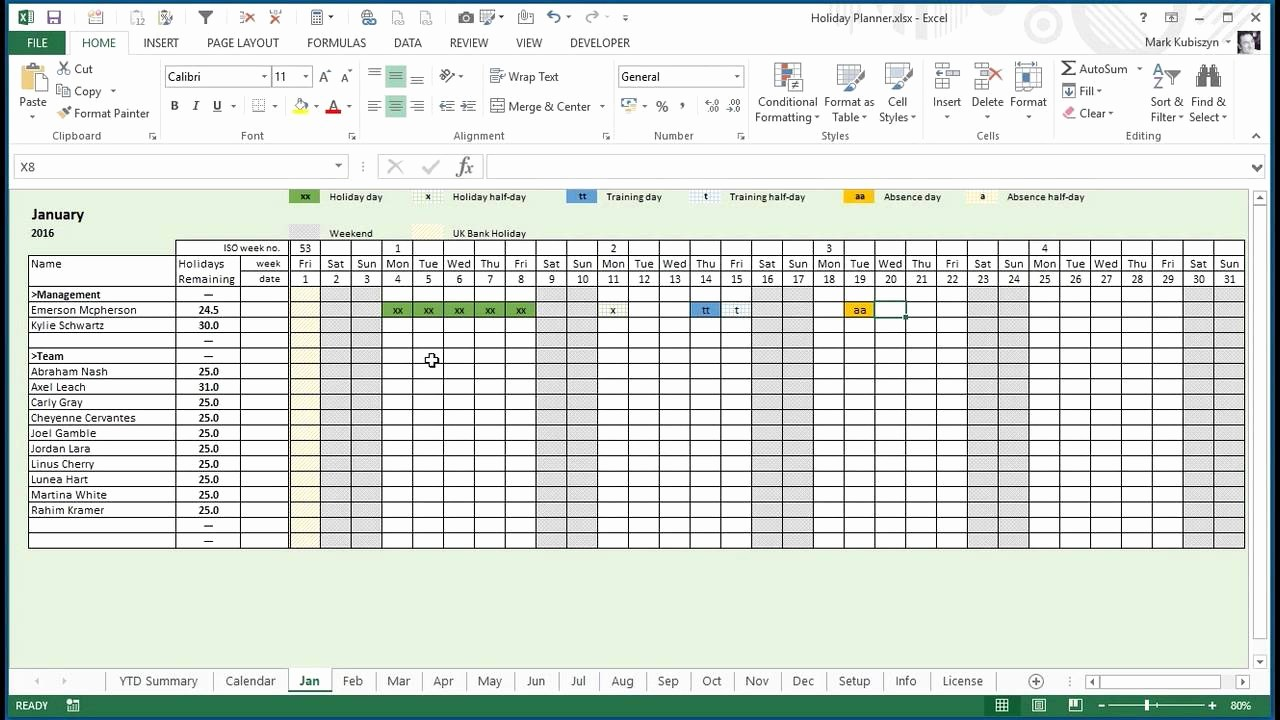 Excel Calendar 2017 with Holidays Awesome Excel Holiday Calendar