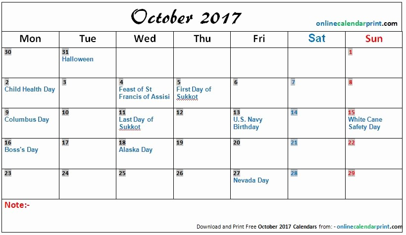 Excel Calendar 2017 with Holidays Awesome October 2017 Calendar with Holidays