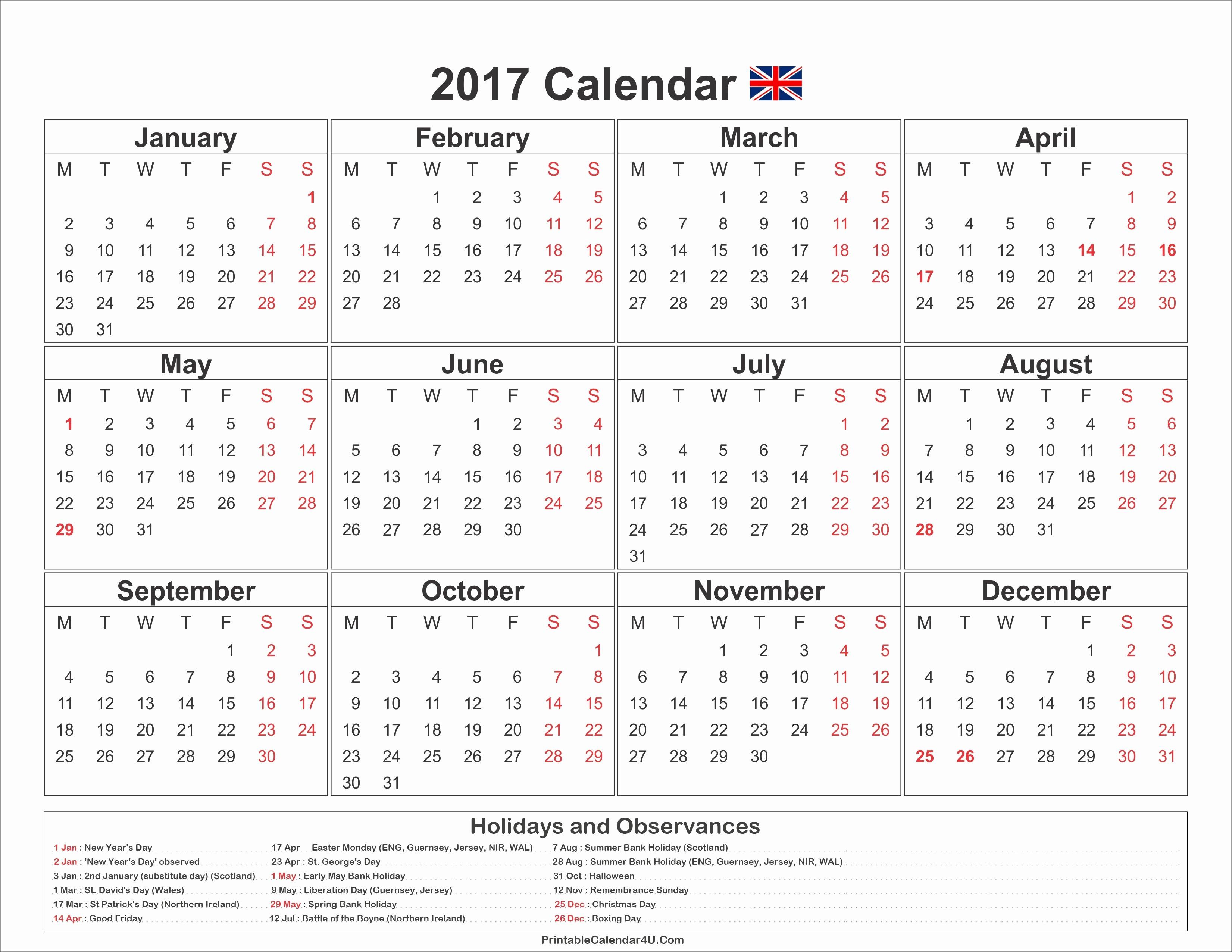 Excel Calendar 2017 with Holidays Elegant Information or Calendar 2019 Uk Bank Holidays Calendar