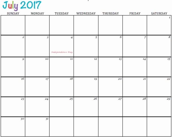 Excel Calendar 2017 with Holidays Elegant July 2017 Printable Calendar Template Holidays Excel