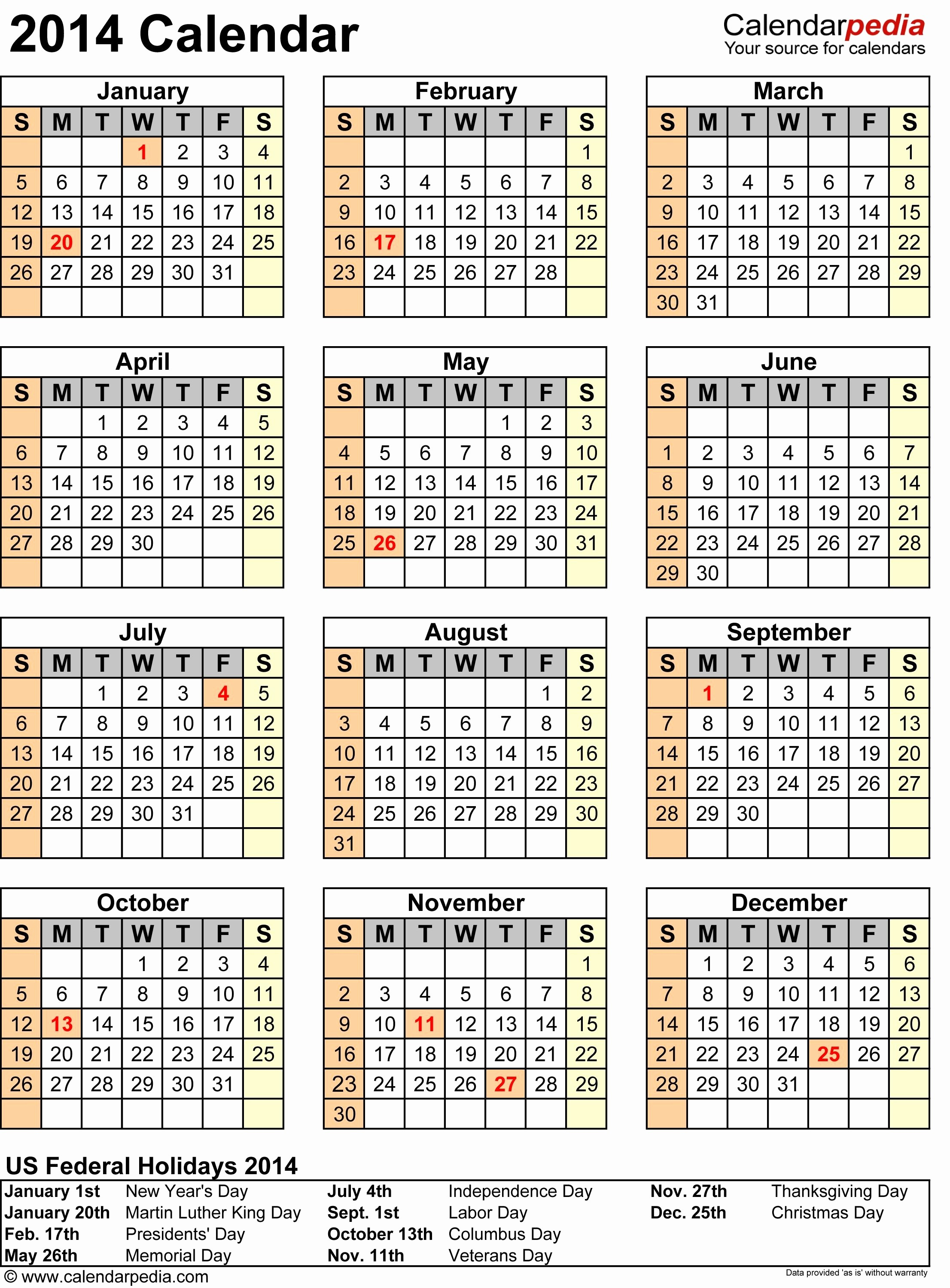 Excel Calendar 2017 with Holidays Fresh 2014 Calendar Template with Holidays