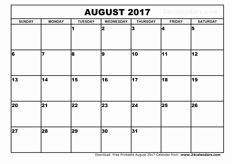 Excel Calendar 2017 with Holidays Fresh August 2017 Calendar Excel