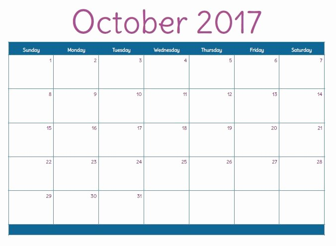 Excel Calendar 2017 with Holidays Fresh October 2017 Printable Calendar Template Holidays Excel