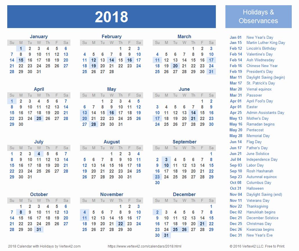 Excel Calendar 2017 with Holidays Inspirational 2018 Calendar Excel