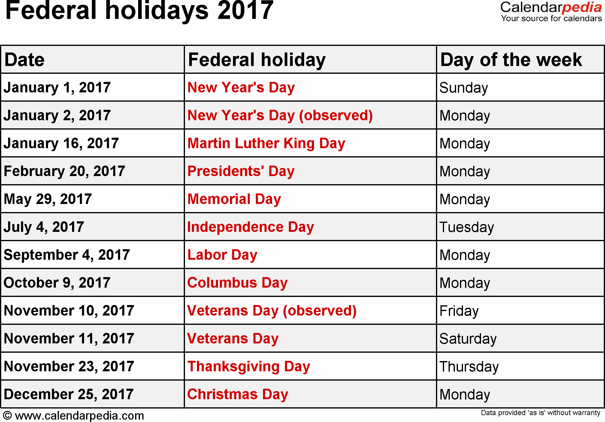 Excel Calendar 2017 with Holidays Lovely Federal Holidays 2017