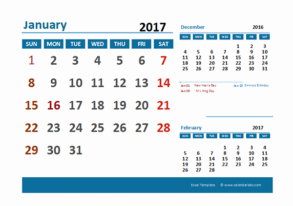 Excel Calendar 2017 with Holidays Luxury 2017 Excel Calendar with Holidays Free Printable Templates