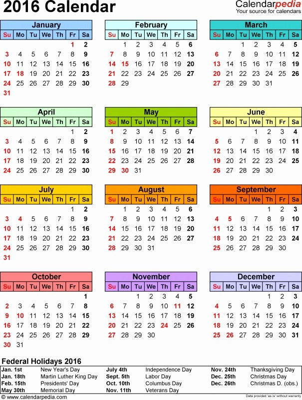 Excel Calendar 2017 with Holidays Luxury Postal Calendar 2016 Excel
