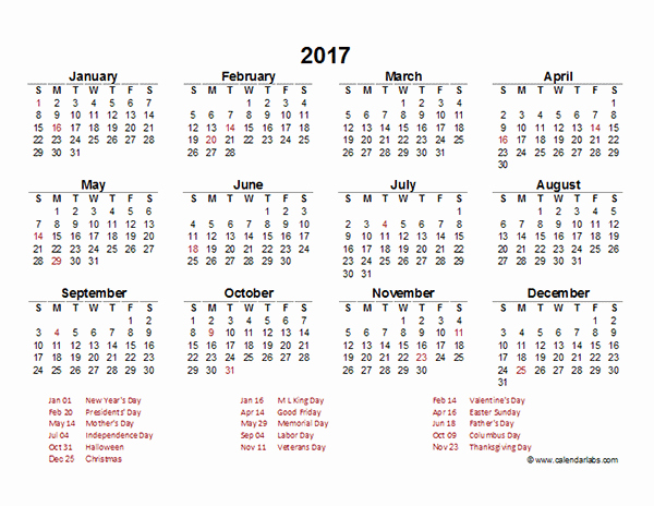 Excel Calendar 2017 with Holidays New 2017 Yearly Calendar Template Excel Free Printable Templates