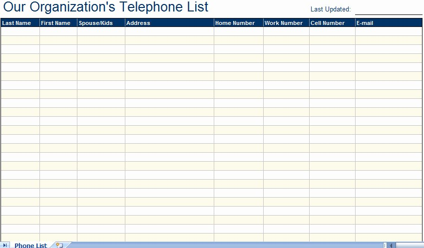 Excel Contact List Template Free Best Of Excellent Employee Telephone Email Directory List Template
