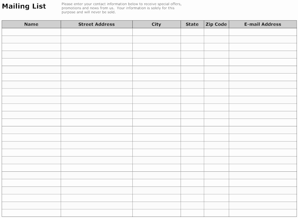Excel Contact List Template Free Elegant Mailing List Template