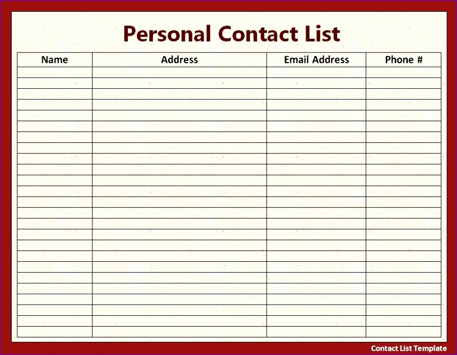 Excel Contact List Template Free Luxury 12 Excel Address List Template Exceltemplates