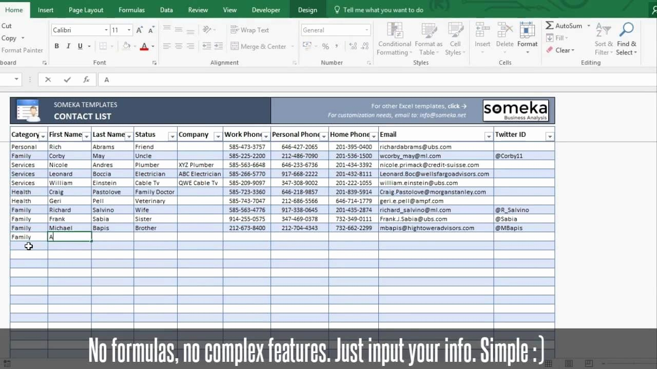 Excel Contact List Template Free New Contact List Template In Excel