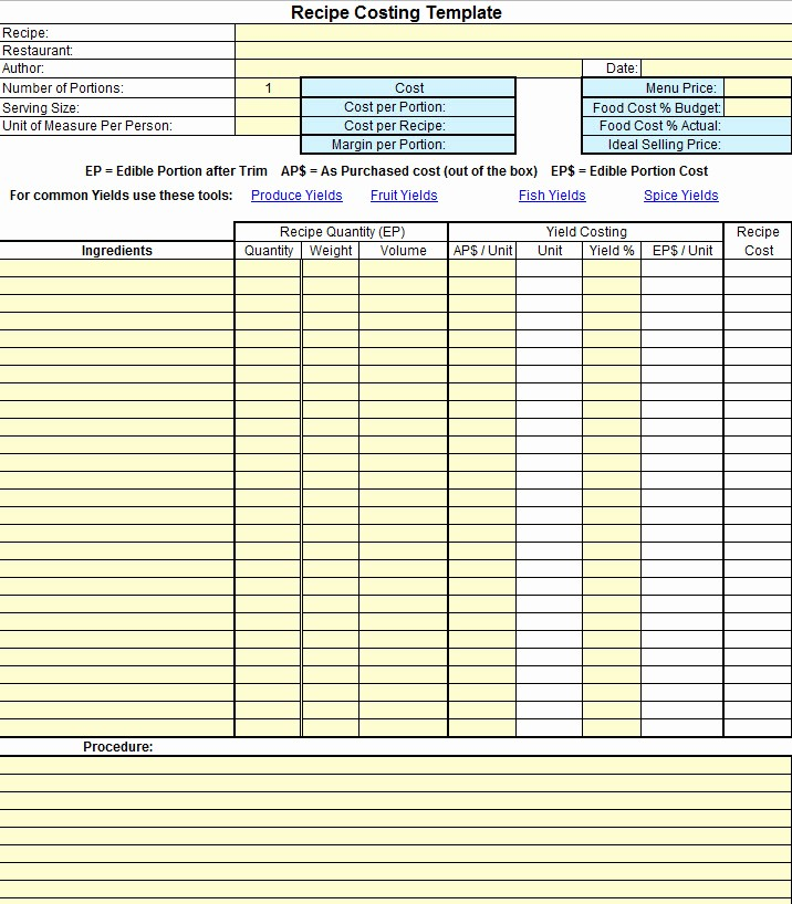 Excel Costing Template Free Download Best Of Chef S Resources Plate Cost How to Calculate Recipe Cost
