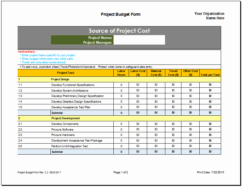 Excel Costing Template Free Download Best Of Project Costing Excel Template