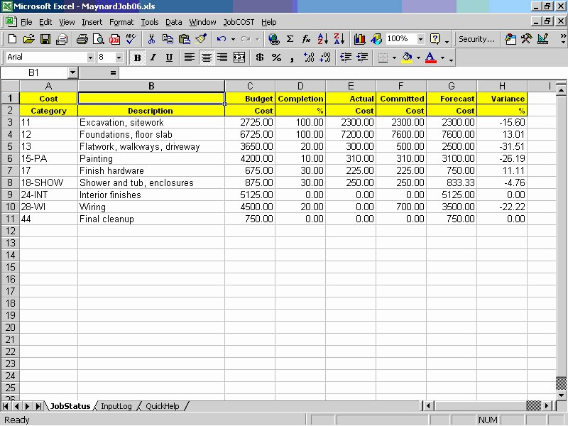 Excel Costing Template Free Download New Job Cost Controller Spreadsheet for Excel