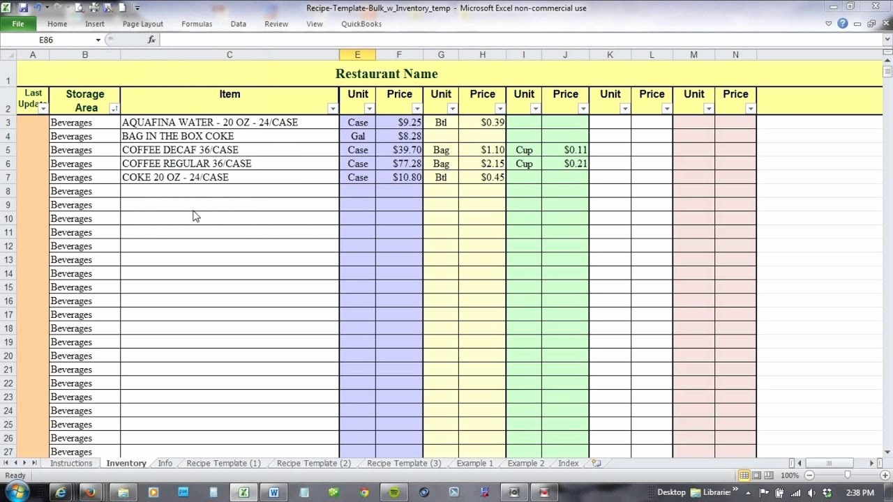 Excel Costing Template Free Download New Using Excel for Recipe Costing and Inventory Linking