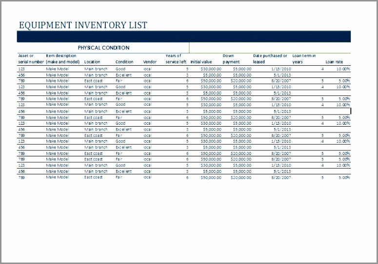Excel Equipment Inventory List Template Awesome Product Inventory Template Product Inventory Tracking